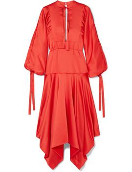 Tie Detailed Asymmetric Satin Midi Dress by Self Portrait