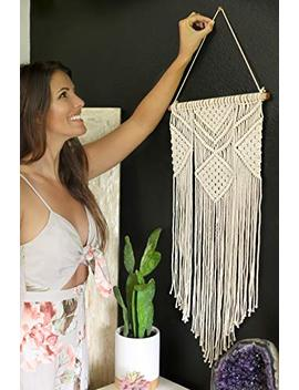 "Macrame Wall Hanging | Geometric Boho Bohemian Chic Wall Decor | Woven Wall Hanging | Vintage Modern Apartment Dorm Room Decoration | Handmade Wall Art Tapestry | Home Wall Hanging, 14"" W X 30"" L by Paikō"