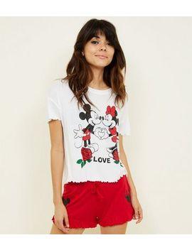Red Love Disney Frill Trim Pyjama Set by New Look