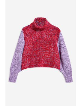Three Colour Twist Roll Jumper by Topshop