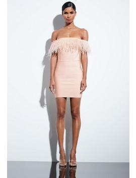 Peace + Love Nude Bardot Bandage Feather Dress by Missguided