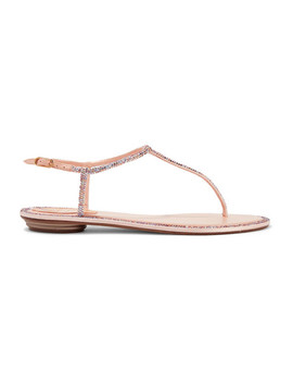 Diana Crystal Embellished Leather And Satin Sandals by René Caovilla