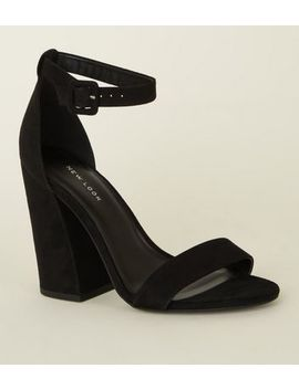 Black Flared Block Heel Shoe by New Look