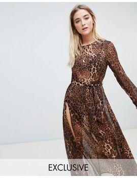 Ebonie N Ivory Long Sleeved Mesh Dress With Thigh Splits In Leopard by Ebonie N Ivory