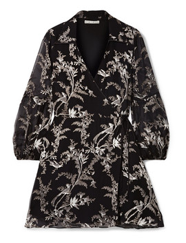 Gaston Devoré Silk Blend Chiffon Wrap Mini Dress by Alice + Olivia