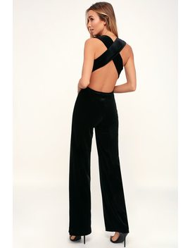 Best Of Luxe Black Velvet Backless Jumpsuit by Lulus