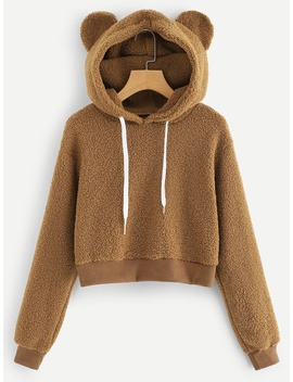 Solid Drawstring Teddy Hoodie by Romwe