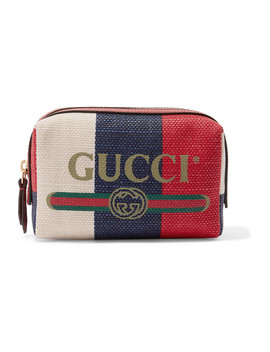 Leather Trimmed Striped Canvas Cosmetics Case by Gucci
