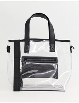 Prettylittlething Contrast Detail Shopper Bag In Clear by Pretty Little Thing