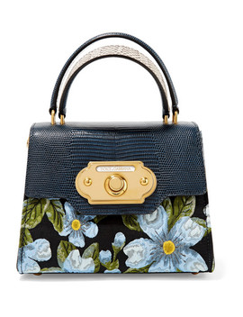 Welcome Small Jacquard And Watersnake Tote by Dolce & Gabbana