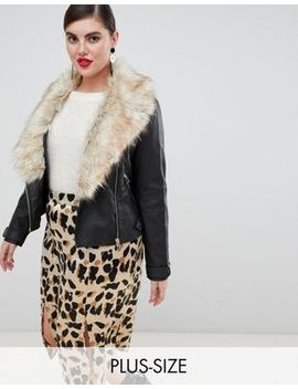 River Island Plus Faux Leather Biker Jacket With Faux Fur Trim In Black by River Island Plus