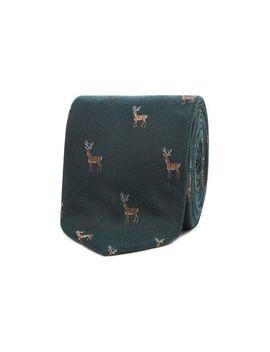 Hammond & Co. By Patrick Grant   Dark Green Embroidered Deer Tie by Hammond & Co. By Patrick Grant