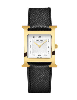 Heure H Watch, Gold Plate & Leather Strap by Hermes