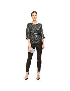 Wallis   Silver Ruched Side Top by Wallis