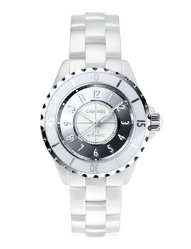 J12 Mirror 38mm White Ceramic And Steel Watch by Neiman Marcus