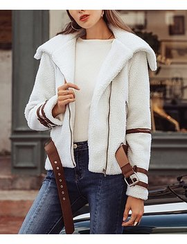 Off White Contrast Trim Fuzzy Zip Jacket   Women by Vutti