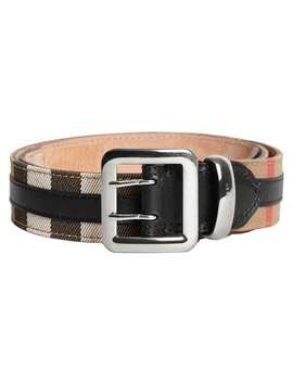 Topstitched House Check And Leather Belt by Burberry