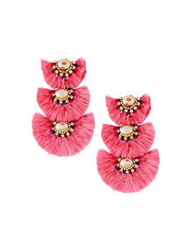 Triple Drop Fringe Earrings, Pink by Nakamol