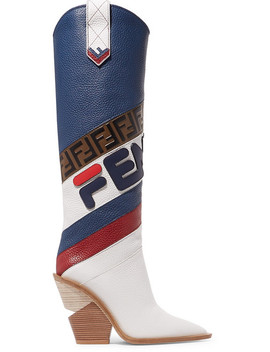 Logo Embossed Leather Knee Boots by Fendi