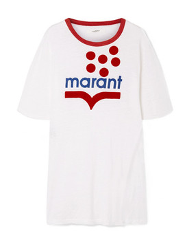 Kutai Flocked Printed Slub Linen Jersey T Shirt by Isabel Marant Étoile