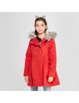 Girls' Long Faux Wool Fur Hood Jacket   Cat & Jack™ Red by Cat & Jack