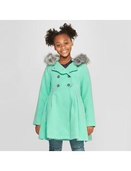 Girls' Long Faux Wool Fur Hood Jacket   Cat & Jack™ Aqua by Cat & Jack