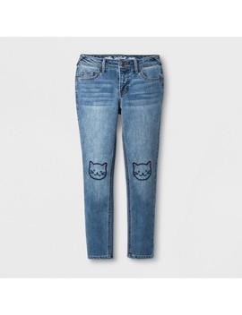 Girls' Skinny Embroidered Jeans   Cat & Jack™ Light Denim by Cat & Jack
