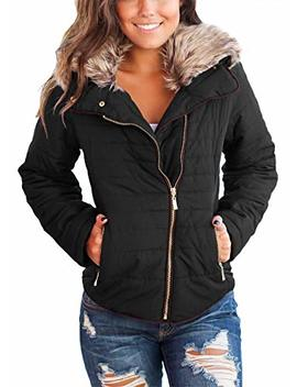 Dokotoo Womens Faux Fur Collar Zip Up Quilted Jacket Coat Outerwear S Xxl by Dokotoo