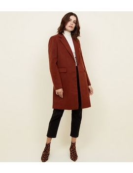 Dark Brown Breasted Formal Coat by New Look