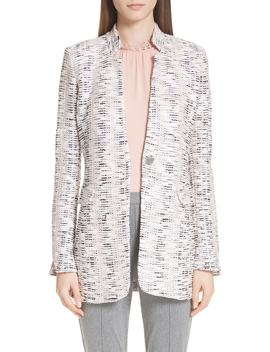 Space Dyed Overlay Plaid Knit Jacket by St. John Collection