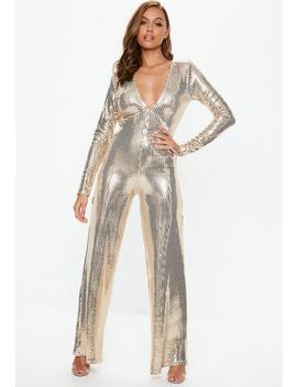 Gold Plunge Sequin Jumpsuit by Missguided