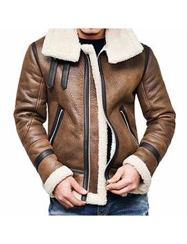 Yuxikong Bomber Jacket Men, Winter Swedish Full Zipper Thick Sherpa Lined Faux Leather Jacket Coat by Menz By Yuxikong