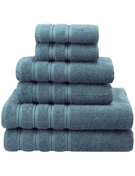 Premium, Luxury Hotel & Spa Quality, 6 Piece Kitchen And Bathroom Turkish Towel Set, 100 Percents Genuine Cotton For Maximum Softness And Absorbency By American Soft Linen, [Worth $72.95] (Colonial Blue) by American Soft Linen
