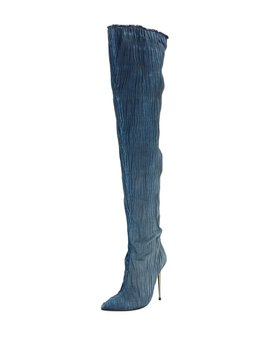 Pleated Over The Knee Denim Boot by Neiman Marcus