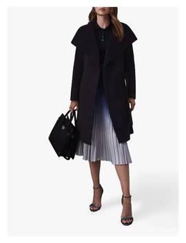 Reiss Luna Belted Longline Wool Coat, Navy by Reiss