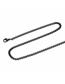 Focalook Men Women Square Rolo Stainless Steel Chain Necklace 3mm Round Box Necklace Jewelry 18 32 In by Focalook