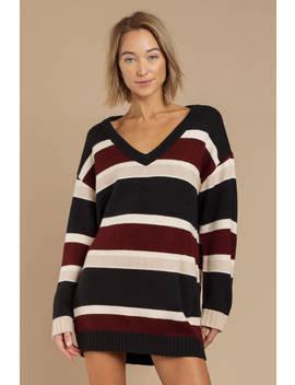 Diana Navy Multi Striped Sweater Dress by Tobi