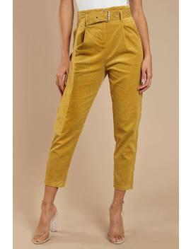 Honey Punch Follow My Lead Mustard Corduroy Pants by Tobi