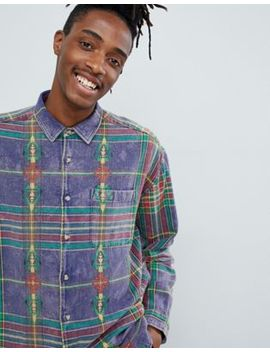Asos Design Oversized Purple Check Shirt With Aztec Design by Asos Design