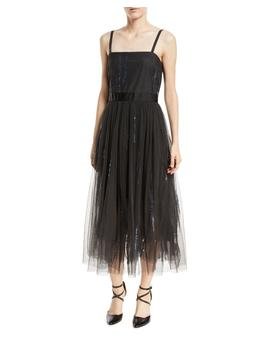 Paillette Embroidered Dress W/ Tulle Skirt by Neiman Marcus