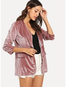 Shawl Collar Velvet Blazer by Romwe