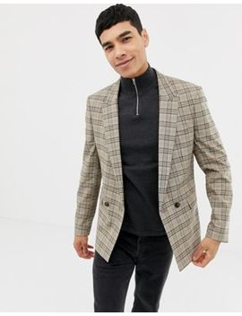Asos Design Skinny Double Breasted Blazer In Brown Prince Of Wales Check by Asos Design