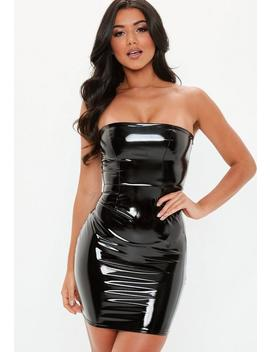 Black Bandeau Vinyl Mini Dress by Missguided