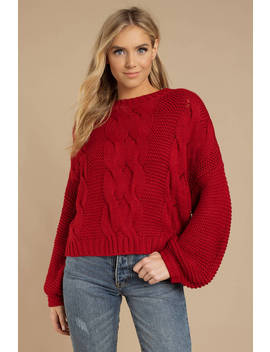 Kacey Red Chunky Knit Sweater by Tobi