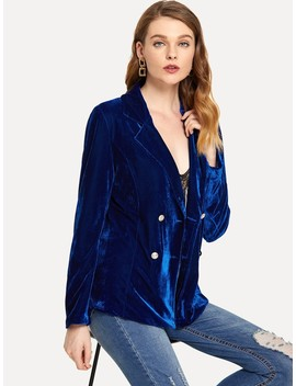 Solid Double Breasted Velvet Blazer by Romwe