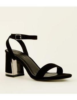 Black Suedette Metal Panel Flare Heel Sandals by New Look