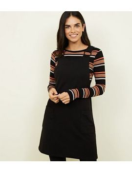 Black Cross Hatch Round Buckle Pinafore Dress by New Look