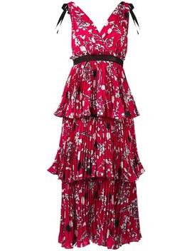 Tiered Floral Print Dress by Self Portrait