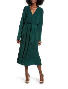 Textured Tie Waist Midi Dress by All In Favor