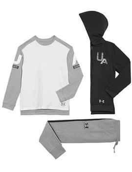Big Boys Rival Full Zip Hoodie, Graphic Print T Shirt & Jogger Pants by Under Armour